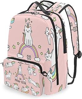 Mochila con bolsa cruzada desmontable, diseño de gato, unicornio, mochila para viaje, senderismo, camping