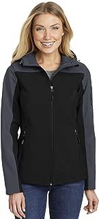 Port Authority Ladies Hooded Core Soft Shell Jacket. L335, Black/Battleship Grey, 2XL