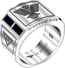 US Jewels And Gems Men's Scottish Rite 0.925 Sterling Silver Synthetic Sapphire Freemason Masonic Ring, Sizes 8 to 14