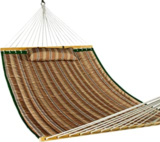Lazy Daze Hammocks Quilted Fabric Double Hammock with Pillow, Spreader Bar Swing for Two Person, Brown Stripe