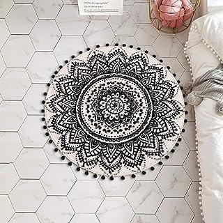 LIVEBOX Round Bath Rug 2ft Mandala Boho Small Area Rug with Chic Pom Pom Fringe Non-Slip Machine Washable Personalized Ult...