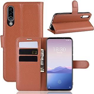 lxj 携帯ケース MEIZU 16XS用ライチテクスチャー水平フリップレザーケース、財布&ホルダー&カードスロット付き 電話ケース (色 : Brown)