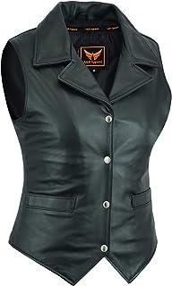 Women Motorcycle Biker Classic Vest Genuine Cowhide Leather Vest With Gun Pocket (X-Large)