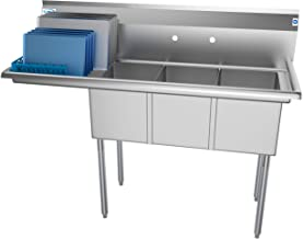 KoolMore 3 Compartment Stainless Steel NSF Commercial Kitchen Sink with Large Drainboard - Bowl Size 12