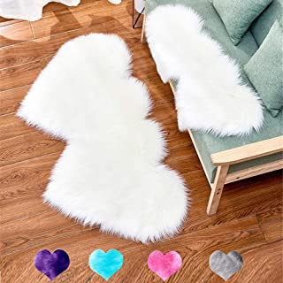 Double Heart Area Rug, Faux Fur Shaggy Floor Carpet Ultra Soft Love Shaped Rugs Fluffy Plush Mat for Home Bedrooms Living Room Kids Rooms Sofa Floor Mats Decor, 24 x 47 Inch (White)