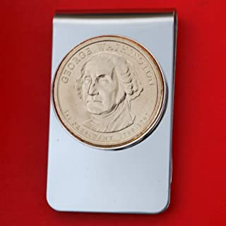 US 2007 Presidential Dollar BU Unc Coin Stainless Steel Silver Money Clip NEW - George Washington (1789−1797 Years Served)