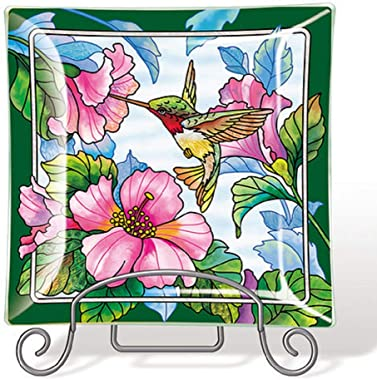 Amia Pretty in Pink Hummingbird Handcrafted, Glass Tray, Multicolored