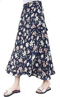 Mujer Falda Cruzada Larga Falda Verano Retro Talla Grande Falda Estampado Floral Chiffon Cintura Ajustada con Forro