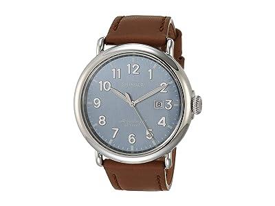 Shinola Detroit 47 mm Runwell 3HD (Stone Blue/Largo Tan Leather) Watches