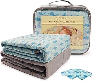 softan Kinder Beschwerte Gewichtete Decke 3 Stück100 x 150cm 3kg-TherapieDecke,Premium Cover, Schlafmaske, Hai