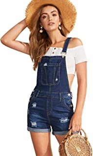 Women's Ripped Rolled Hem Denim Pinafore Overall Shorts...