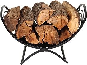 PATIO WATCHERFolding Firewood Rack Log Bin Firewood Storage Holder for Indoor Outdoor Backyard Fireplace Heavy Duty Steel Black