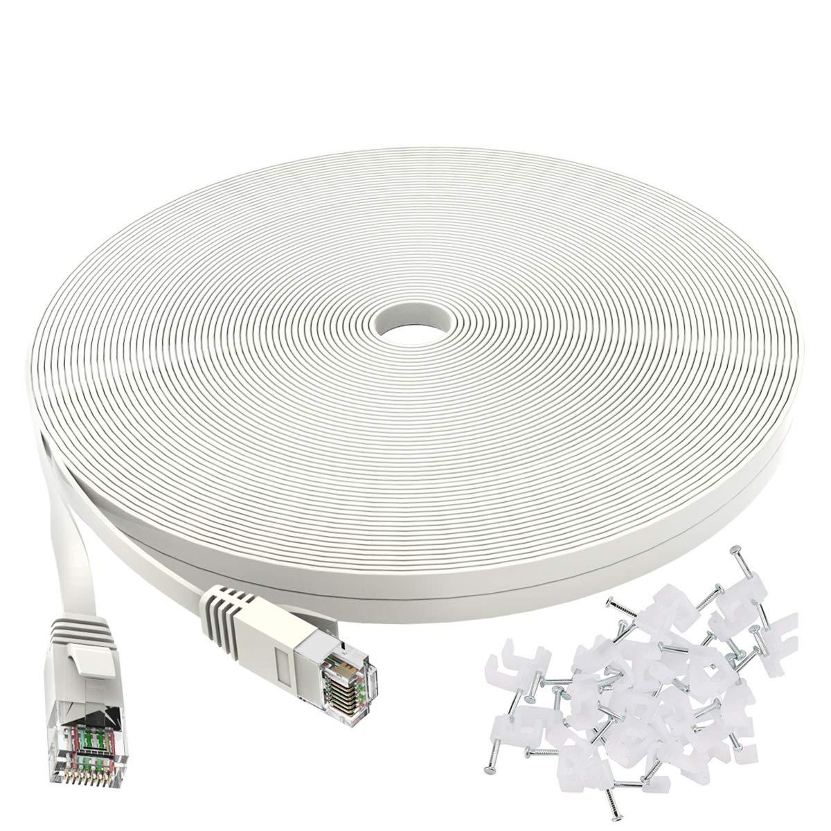 Cat 6 Ethernet Cable 50 ft 5 popular White Finally popular brand Internet Flat - pat Network Lan