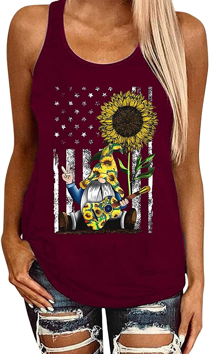 FABIURT Tank Tops for Women 4 of July Tanks Sleeveless Round Neck Tank Tops and Cami Sunflower Print Independence Day Tops
