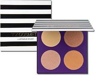 TZ COSMETIX - 4 Shades Bronzer Highlighter / Glow Kit - Soft Powder Illuminating High Pigmented Makeup Palette tz4h
