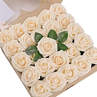 Umiss Wedding Bouquet 50pcs Artificial Flowers White Real Touch Artificial Roses for Bouquets Centerpieces Wedding Party Baby Shower DIY Decorations (Cream)