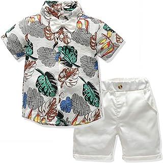 LJYH Boys Gentleman Set Printed Shirt Shorts Summer Cotton Clothing