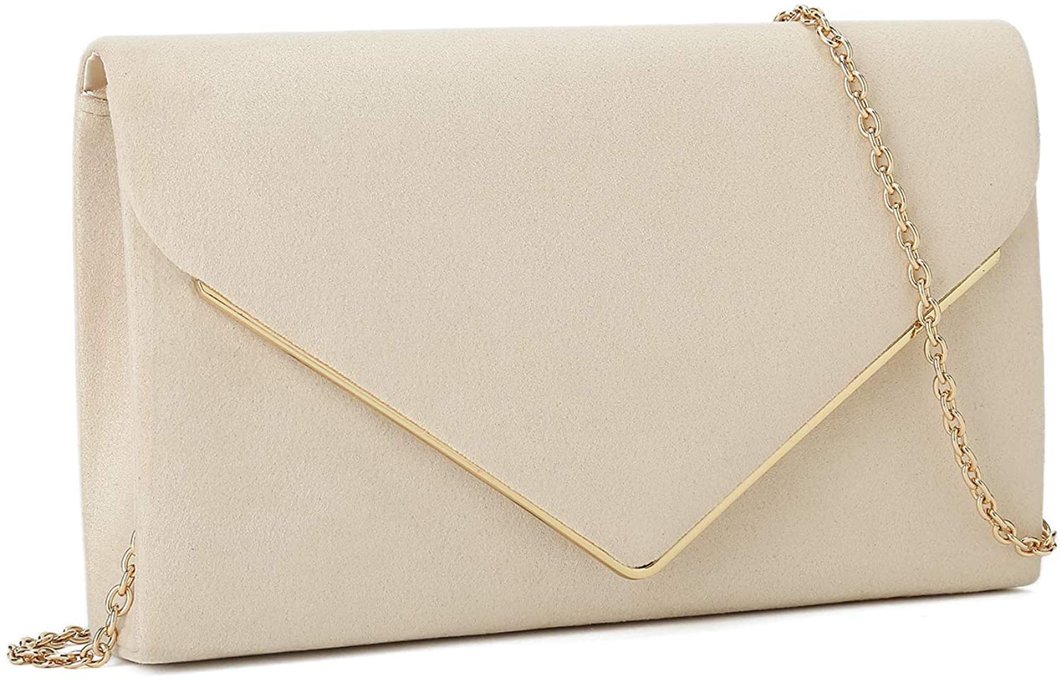 Charming Tailor Faux Suede Clutch Bag Elegant Metal Binding Evening Purse for Wedding/Prom/Black-Tie Events