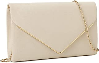 Faux Suede Clutch Bag Elegant Metal Binding Evening Purse for Wedding/Prom/Black-Tie Events