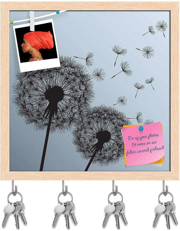Artzfolio Black Flowers Dandelions Key Holder Hooks   Notice Pin Board   Natural Brown Frame 20 X 20Inch