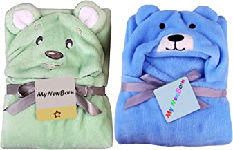 My NewBorn Baby Soft Blanket Wrapper (Pack of 2, Blue Bear/Green Puppy)