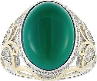 Aurora Men's Silver Aqeeq Green Ring
