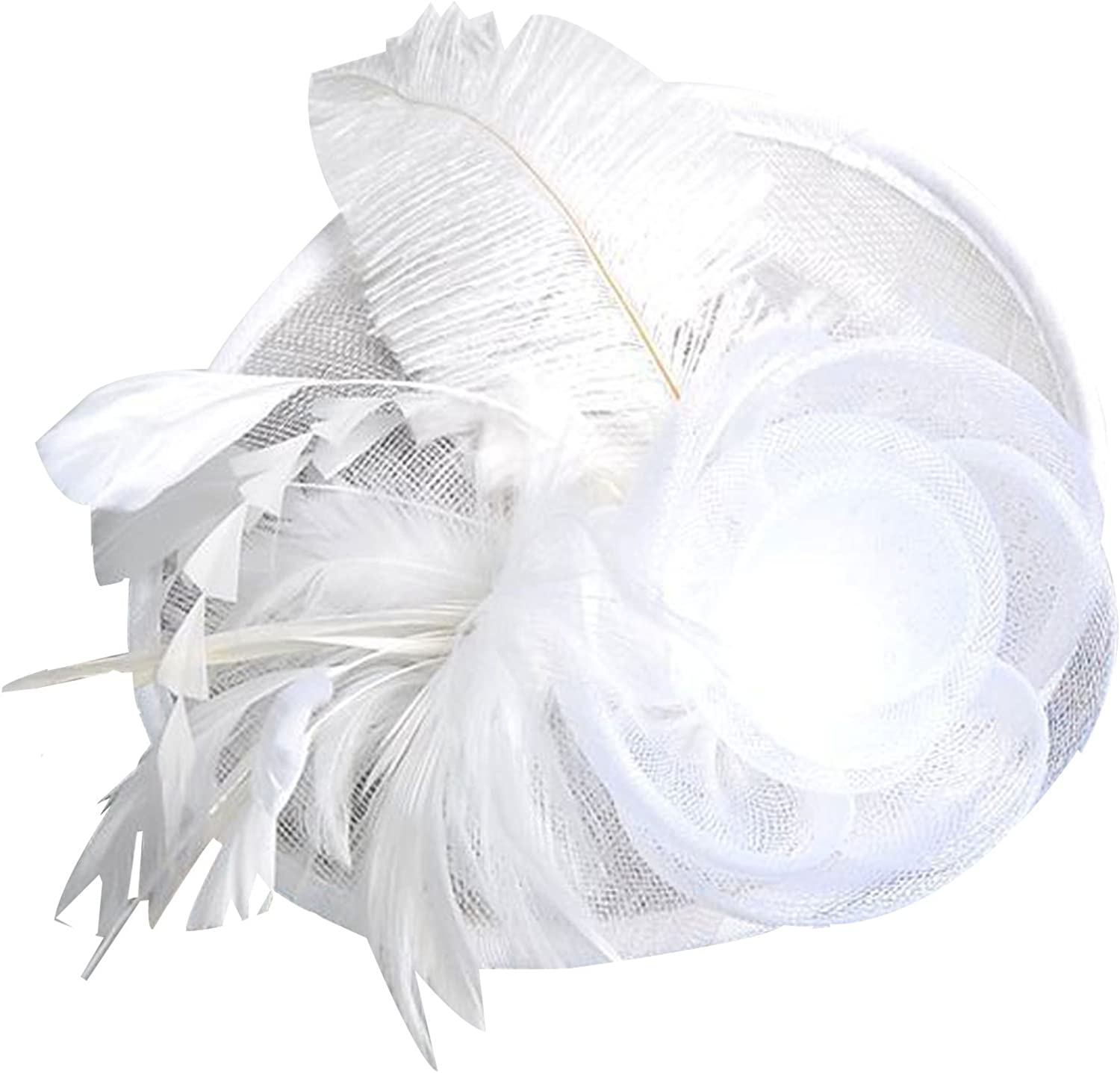 POPOOL PPLM19 Womens Feather Floral Organza Fascinator with Headband Hair Clip