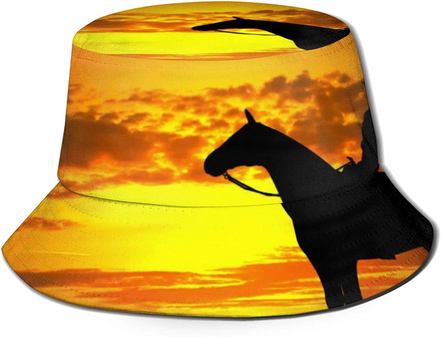 Silhouette of Cowboy On A Horse Bucket Hat Unisex Outdoor Summer Cap Packable Sun Hats for Hiking Beach Sports Black