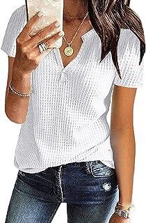 CHAOEN Damen Bluse Kurzarm Oberteile Tshirt V-Ausschnitte Sommershirts Mode Lose Damenblusen Shirt Waffel Strick Elegante ...