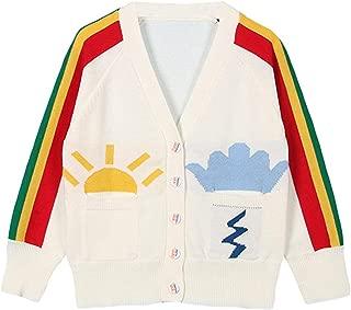Jojobaby Baby Girls 1-6T Rainbow V-Neck Button-Down Cotton Knits Cardigan Sweaters Sweatshirt Coat Jacket Outerwear