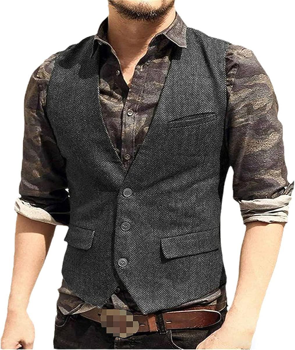 Suit vest vest V-neck wool herringbone tweed vest jacket Slim vest vest casual best man wedding