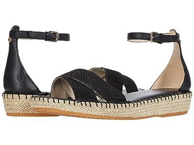 Cole Haan Cloudfeel Espadrille Ankle Strap Sandal (Black Python Print Leather/Tonal Hand Stitch/Natural Jute) Women