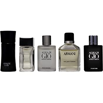 Armani 5 Piece Set For Men (Code 4ml/Diamonds 4ml/Adg 5ml/Green 7ml/Adg Profumo 5ml)