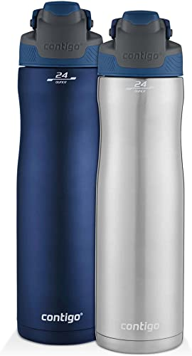 Contigo Autoseal Chill Stainless Steel Water Bottles, 24 oz, SS/Monaco & Monaco, 2 Pack