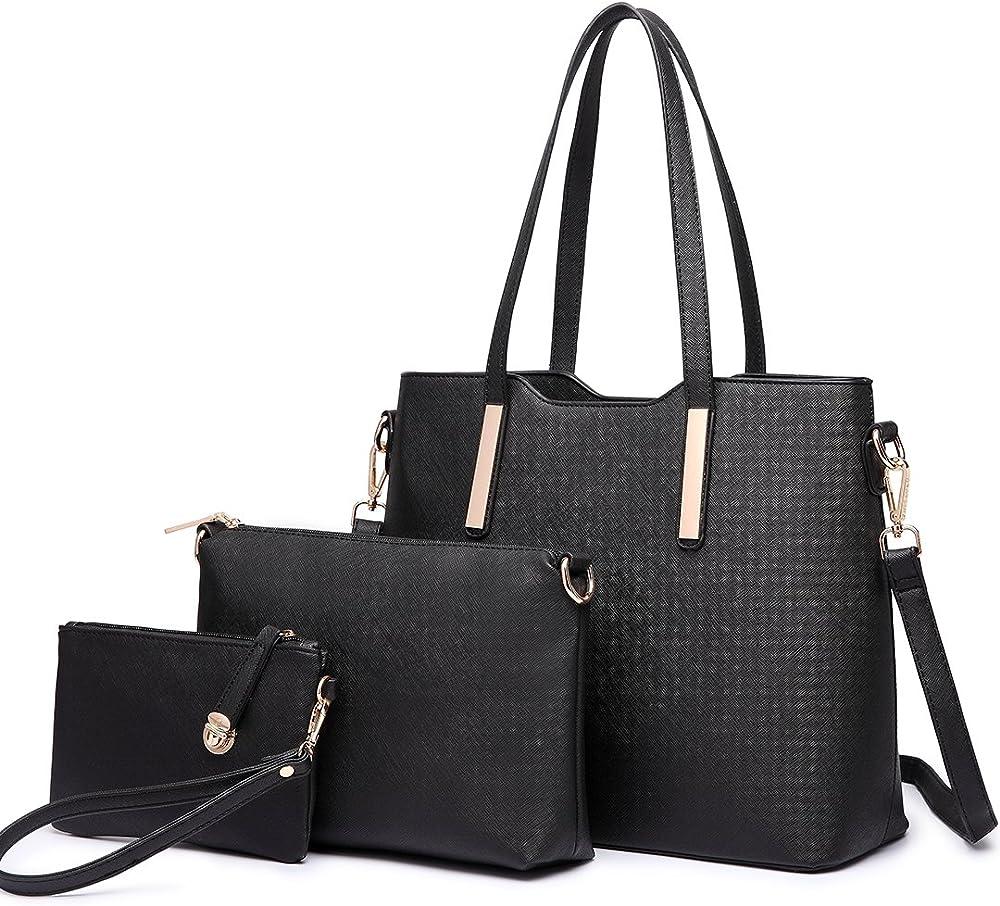 Miss lulu, borsa a mano/tracolla per donna,borsa piu` accessori 3 pezzi, in ecopelle, LT6648 BK
