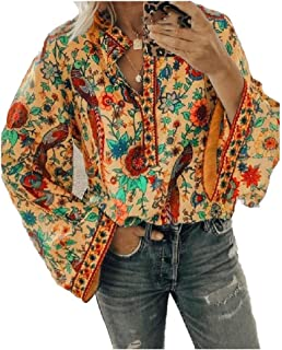Comaba Women's Oversized Floral Tribal Lounge Top Peacock Tee Shirt