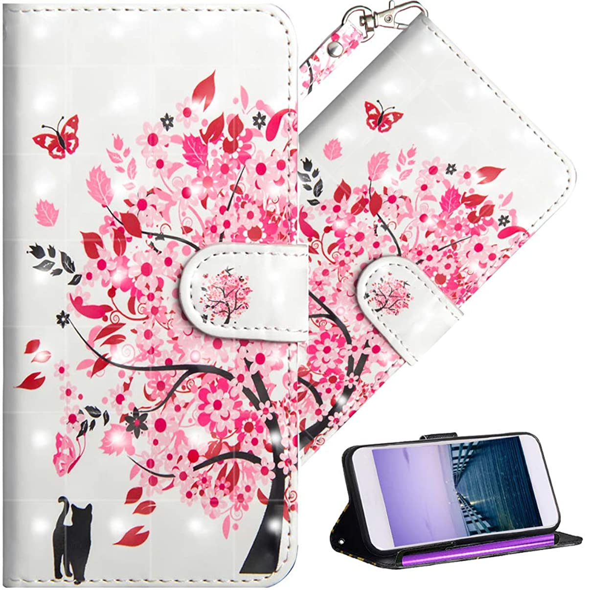 HMTECHUS LG Aristo 2 case V3 2018 Wallet case PU Leather 3D Effect Shell Magnetic Clasp Shockproof Flip Card Holder Protective Cover for LG Aristo 2 Plus / K8 2018 (US Model) Tree cat YX