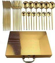 24 stks gouden servies set 304 rvs regenboog bestek diner set mes vork lepel zilverwerk servies instellen met gouden doos ...