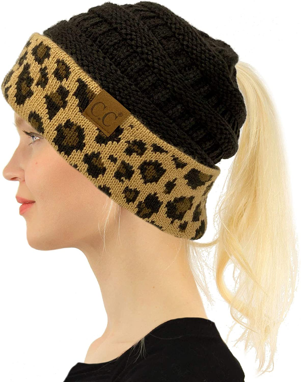 CC Ponytail Max 60% OFF Messy Bun Bargain BeanieTail Soft Winter Beanie Stretch Knit