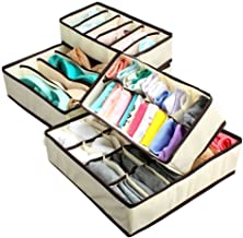 Everbuy Set of 4 Foldable Drawer Dividers, Storage Boxes,Innerwear Storage Box, Closet Organizers, Under Bed Organizer, for Clothing, Shoes, Underwear, Bra, Socks