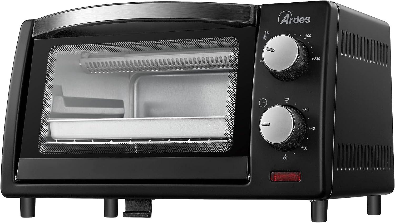 Ardes AR6211B - GUSTAVO DARK - Horno eléctrico, temporizador de 60 minutos, bandeja y rejilla incluidas, color negro, 800 W - 10 litros