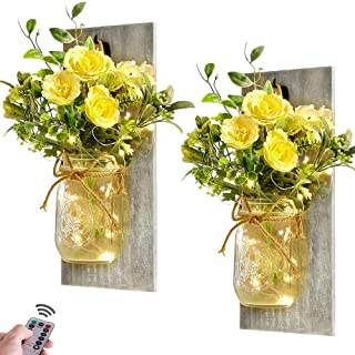 Home Decor Mason Jar Sconces - Rustic Farmhouse Hanging Wall Decor with Remote Control Fairy Lights and Yellow Rose for Be...