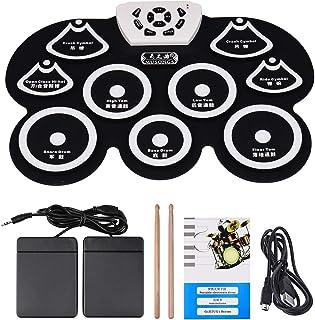 Andoer® Tambor Electrónica de Silicona Entrollable Midi Digital USB Portable Plegable Kit de Cojín con Palillo y Pedal del...