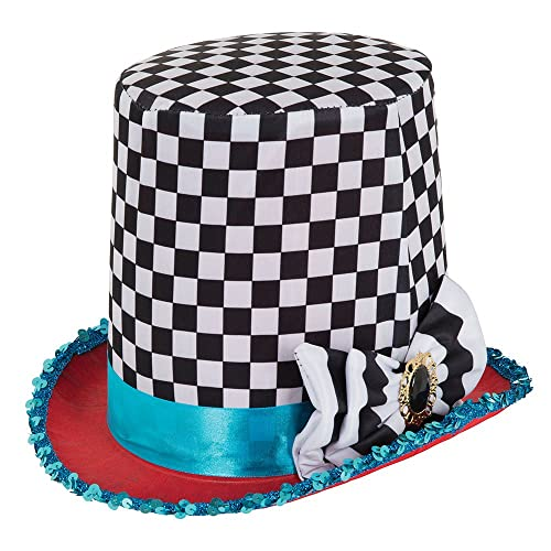 2c017563bb6 Bristol Novelty BH652 Stovepipe Mad Hatter Chequered Hat