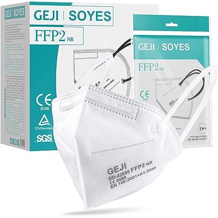 SOYES Mascherine FFP2 Certificate CE,Box 20 Unità ,Maschera di Protezione antiparticolato FFP2 Personale 5 strati. Maschera ad alta efficienza di filtrazione, Certificata CE 0598