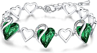 "Leafael Infinity Love Heart Link Bracelet with Birthstone Crystal, Women's Gifts, Silver-Tone, 7"" with 2"" Extender"