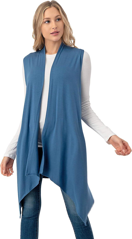 The Simpli Sleeveless Draped Open Front Cardigan Vest Asymmetric Hem - Made in USA