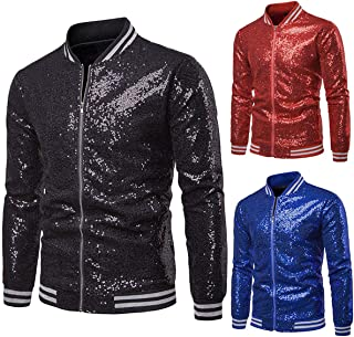 Men's Slim Fit Metallic Jacket,Long Sleeve Sparkle Sequin Shiny Zip Up Nightclub Varsity Bomber Party Jacket