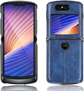 Compatible with Motorola Razr 5G Case, Luxury PU Leather + PC Shockproof Protective Cover Ultra-Thin Fold Phone Case,Blue