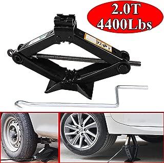 ZhanGe Set of 1 Scissor Jack, Stabilizer Leveling 2 Ton(4400Lbs) Heavy Duty Scissor Floor Jack with 1 Speed Crank Handle Universal Fit Car/Truck/Vehicle/RV/Trailer/Car, Solid Steel